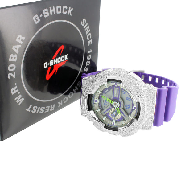 G Shock Watch GA110DN-6A Purple Band Custom Bezel