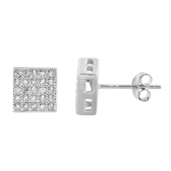 White Gold Tone Lab Diamond Square Simulated Diamond Earrings