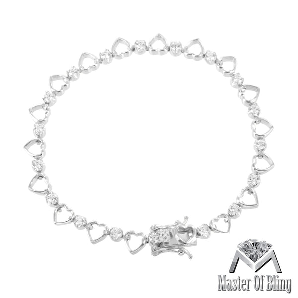 White Finish Heart Shape Link 925 Silver Lab Diamond Bracelet Womens