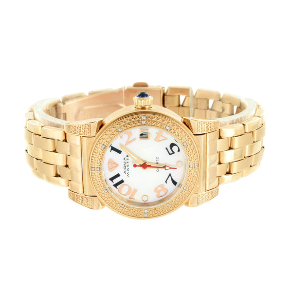 Rose Gold Finish Watch Ladies Aqua Master Real Diamond White Dial Womens Classy