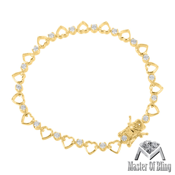 Sterling Silver 14k Yellow Finish Heart Shape Lab Diamond Bracelet Ladies