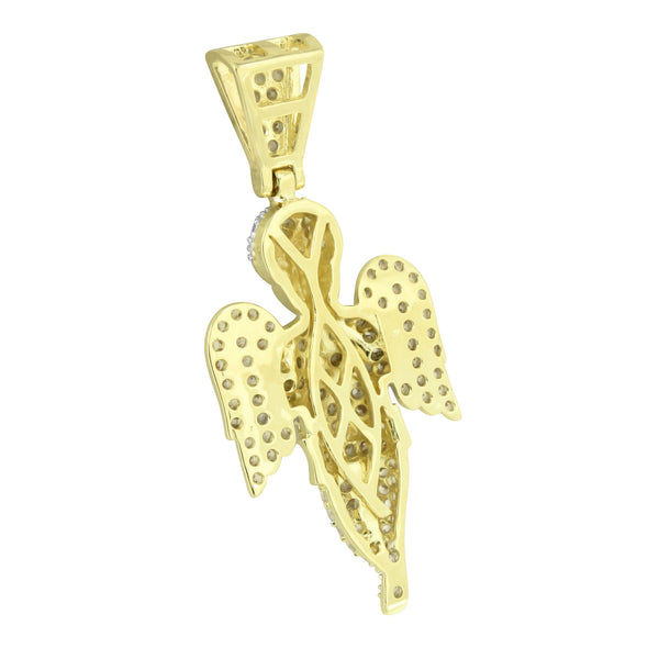 Angel Pendant 14K Yellow Gold Finish Lab Diamonds Iced Out