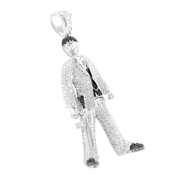 Scarface Pendant With Gun White Gold Finish Lab Diamond Al Pacino