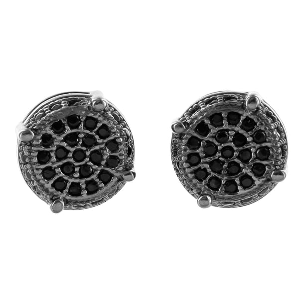 Black Gold Finish Earrings Black Lab Diamond Round 925 Silver
