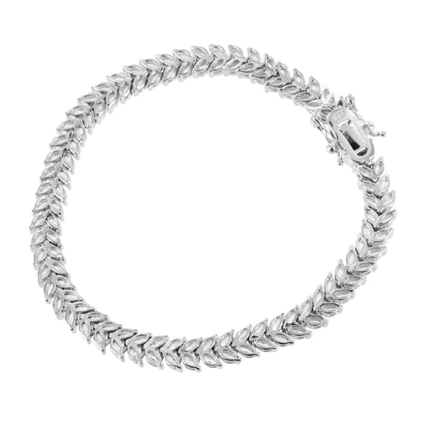 2 Row Marquise Bracelet Solitaire Link Sterling Silver Simulated Diamonds