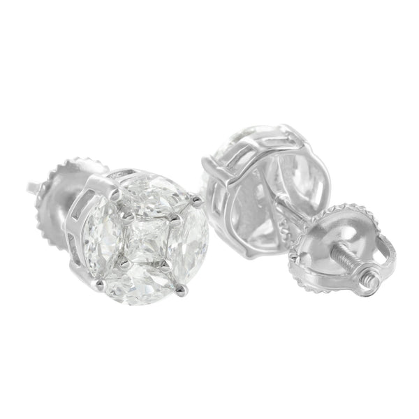 Sterling Silver Marquise Set Earrings