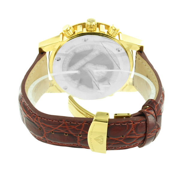 Yellow Gold Finish Watch Brown Crocodile Leather Strap Aqua Master Diamond Pave