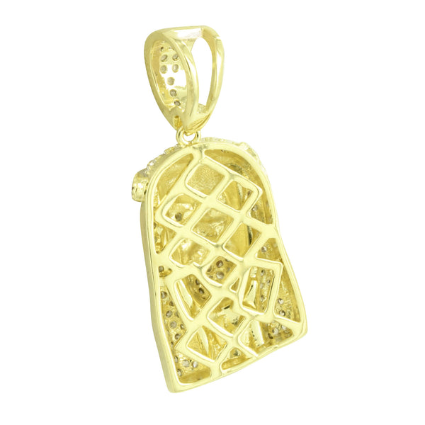 Mens Jesus Face Pendant Designer 14k Yellow Gold Finish