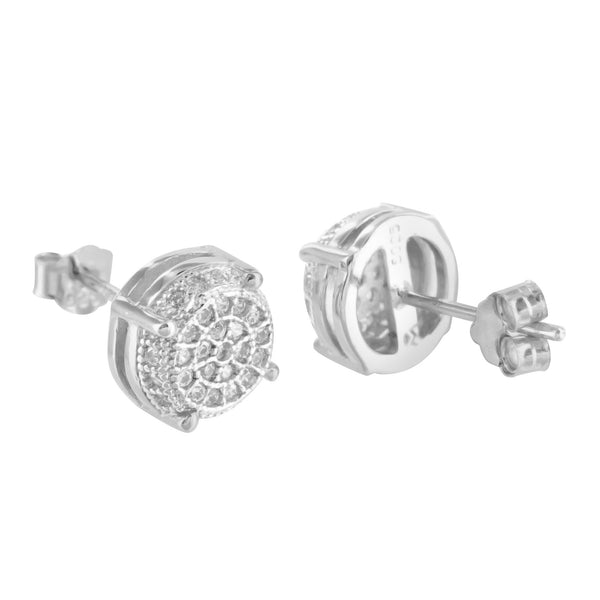 Sterling Silver Dome Style Cubic Zirconium CZ Stud Earrings