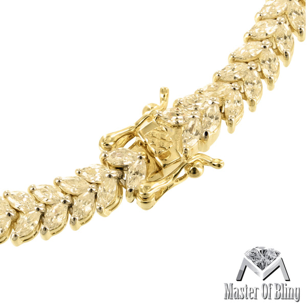 Simulated Diamond 2 Row Pear Cut 14K Gold Tone 925 Silver Female Bracelet