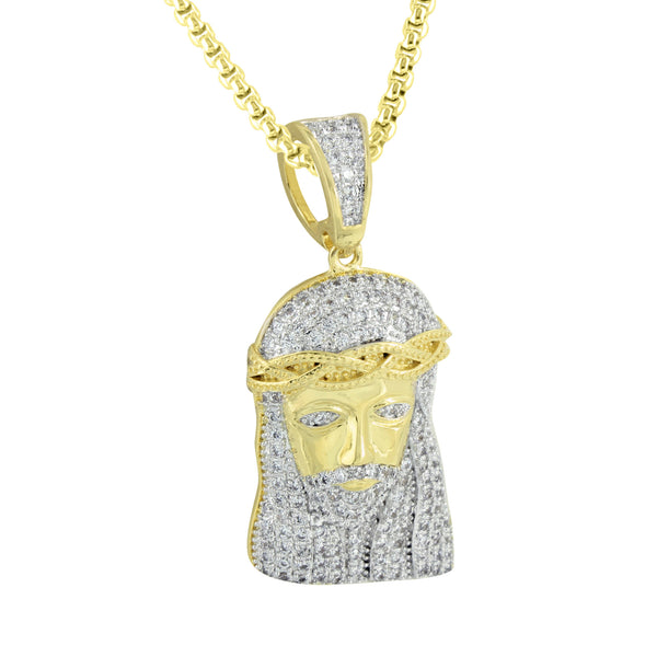 Mens Gold Finish Jesus Christ Pendant Box Chain Iced Out Pave