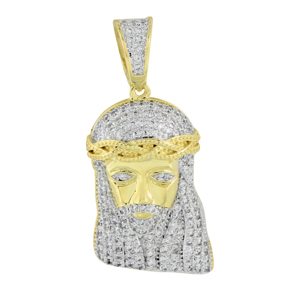 Jesus Face Pendant 14K Yellow Gold Finish