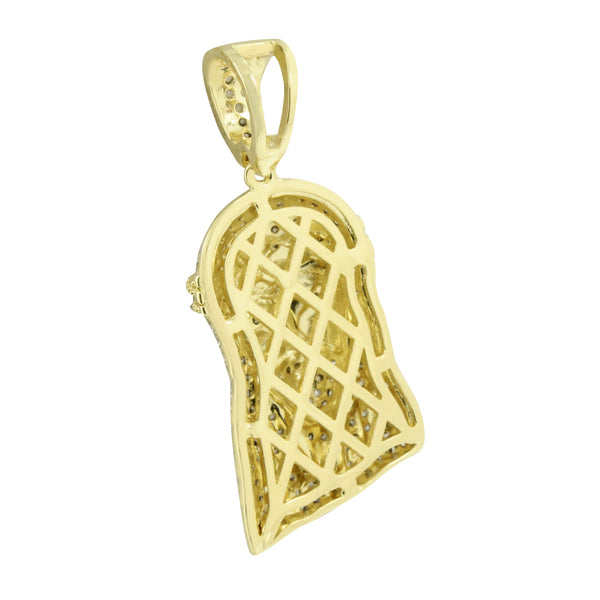 Mens Gold Finish Jesus Christ Pendant Box Chain  Pave