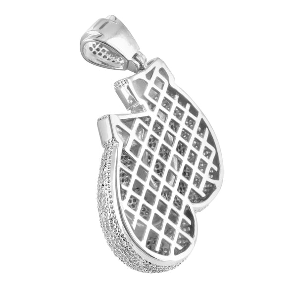 Lab Diamond White Gold Finish Rocky Balboa Boxing Gloves Pendant
