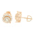 3D Cluster Lab Daimond Rose Gold Finish Earrings