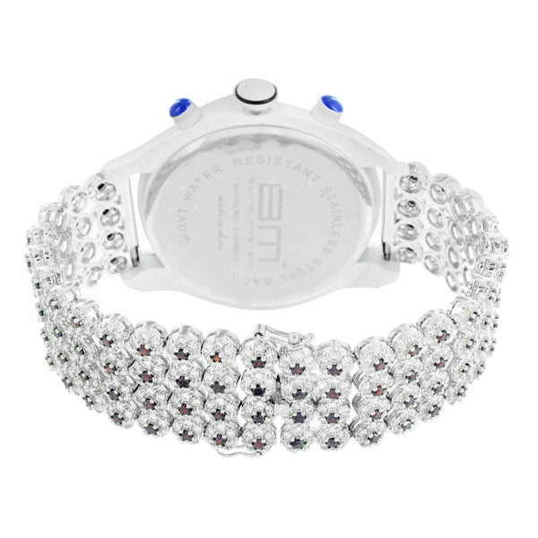 Mens Lab Diamond Cluster Tray Band White Finish