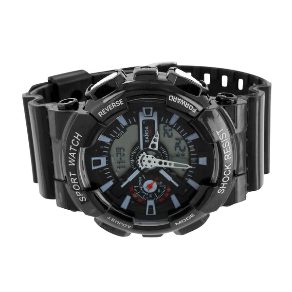 Shock Resistant All Black Watch Digital-Analog Silicone Band