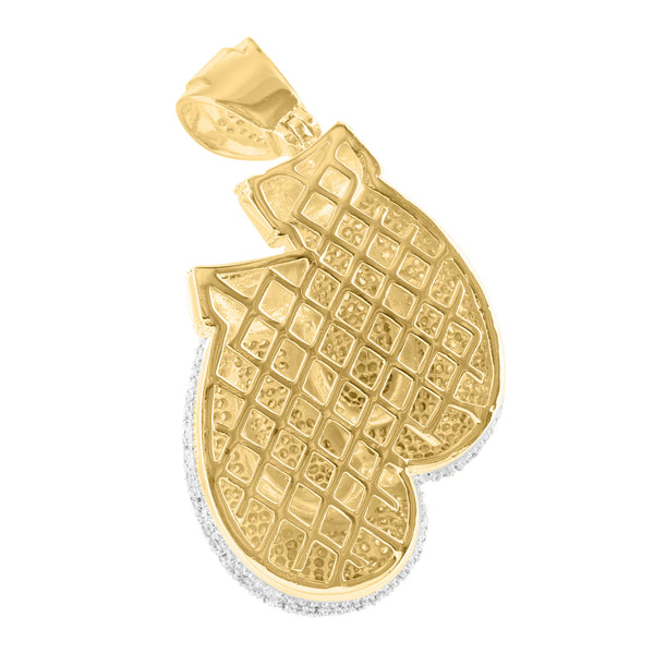 Boxing Gloves Yellow Gold Finish Cubic Zirconia Pendant