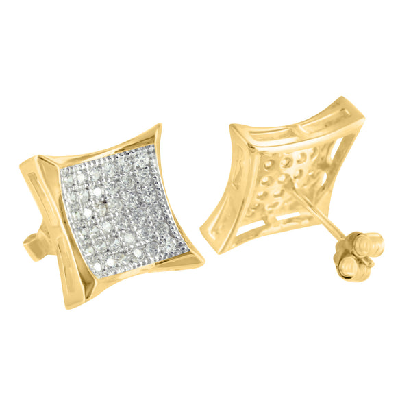 Sterling Silver Concave Kite Shape Push Back 14k Gold Finish Lab Diamond Earring
