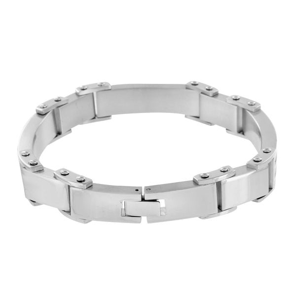 Mens Bracelets On Sale White Gold Over Stainless Steel