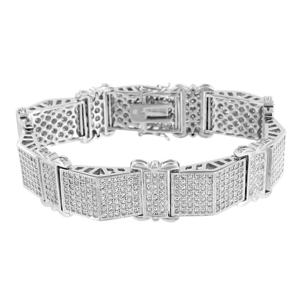 Mens White Bracelet Lab Diamonds  Micro Pave