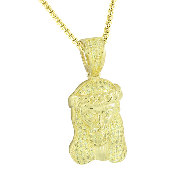 Canary Simulated Diamond Jesus Pendant Stainless Steel Chain Gold Finish