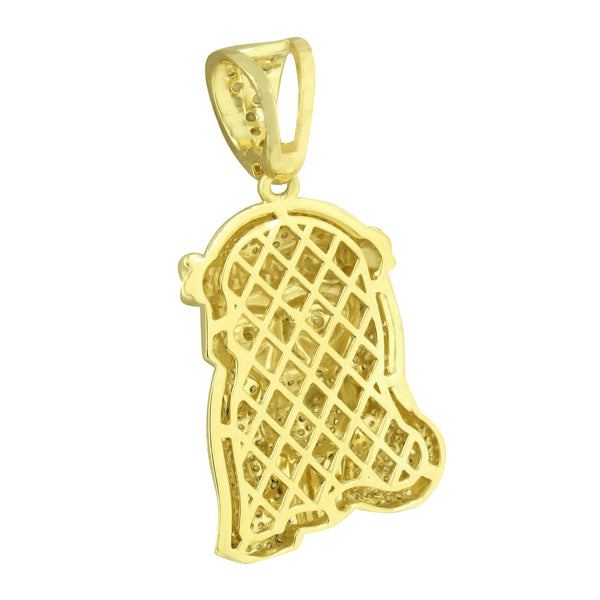Miami Cuban Jesus Pendant Canary Iced Out 14K Gold Finish