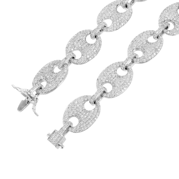 Mens GG Chain Necklace in 14k White Gold Finish
