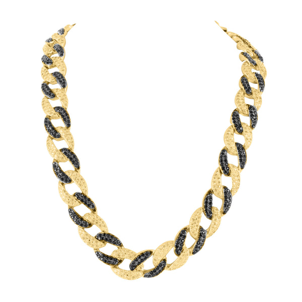 Mens Black and Canary Lab Diamond Miami Cuban Link Chain