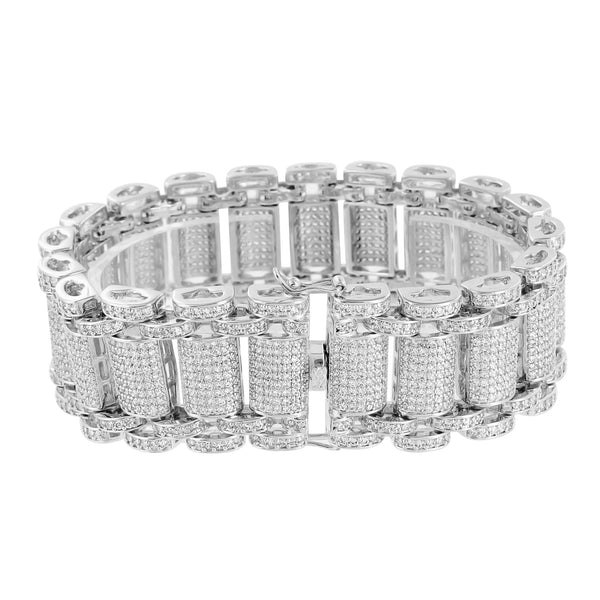Mens Lab Diamonds Bracelets Iced Out Unique Look Elegant 26 MM