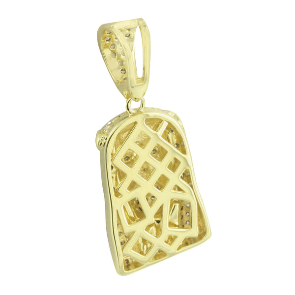 Jesus Christ Face Pendant 14K Yellow Gold Finish