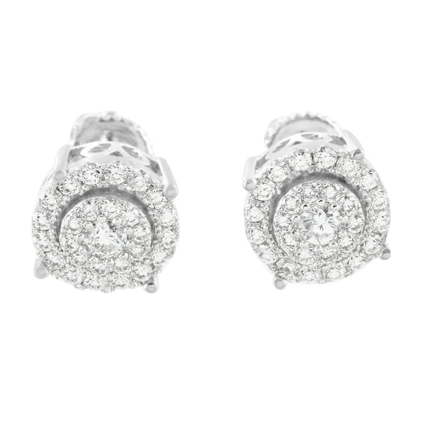 White Rhodium Finish Earrings Screw Back Prong Set