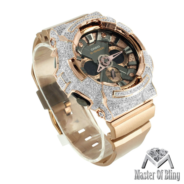 Rose Gold Finish G Shock DA200GD CZ Bezel Silicon Band Multi Display Watch