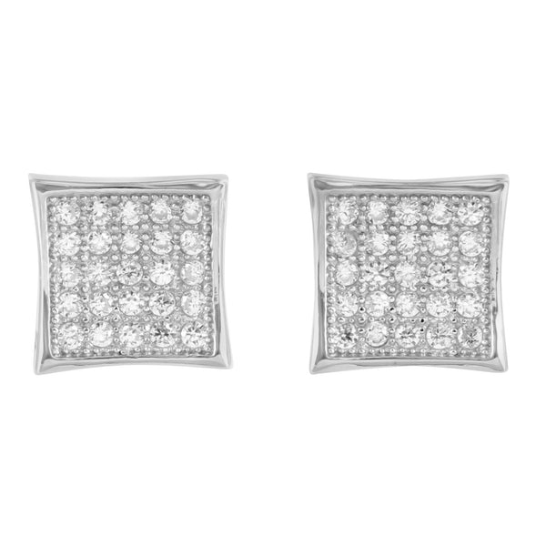 925 Silver Kite Earrings Lab Diamond White Gold Finish