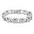 White Gold Mens Bracelet 14K Over Solid Stainless Steel