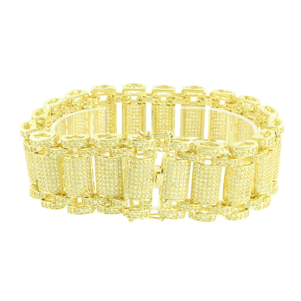 Yellow Lab Diamonds Bracelet Fully Iced Out Micro Pave