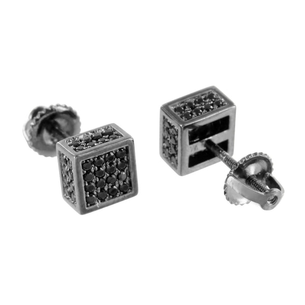 Black Square Cube Earrings Micro Pave Screw On 7 MM Custom