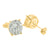 Round Cluster Earrings Sterling Silver Lab Diamond Yellow Gold Finish