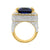 Emerald Cut 925 Sterling Silver Sapphire Blue Ruby Mens CZ Ring