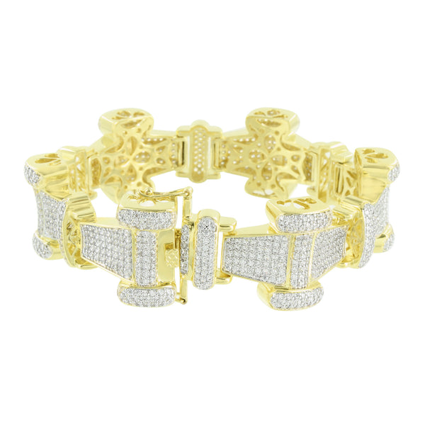14K Gold Finish Bracelet Bone Link Custom Design Simulated Diamonds