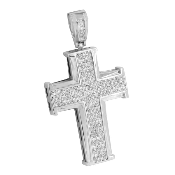 Jesus Cross Pendant Charm Stainless Steel Bead Chain White