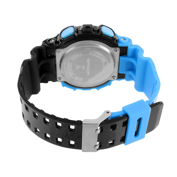 Sports Watch Black Blue Dial Silicone Band Digital Analog