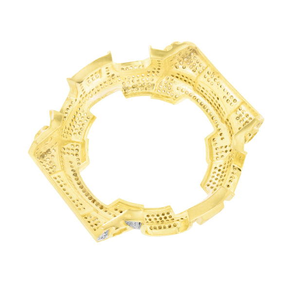 Yellow Gold Finish Lab Diamond G Shock Wristwatch Bezel