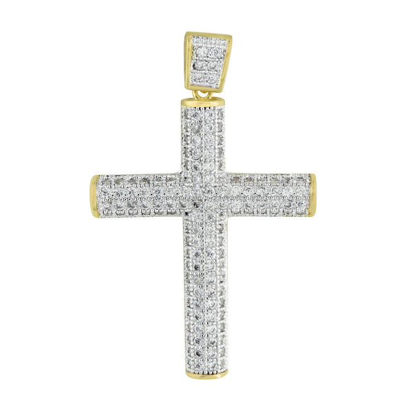 Mens Gold Finish Cross Pendant  Micro Pave Set Classy