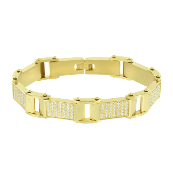 Mens Bracelet 14K Gold Over Solid Stainless Steel