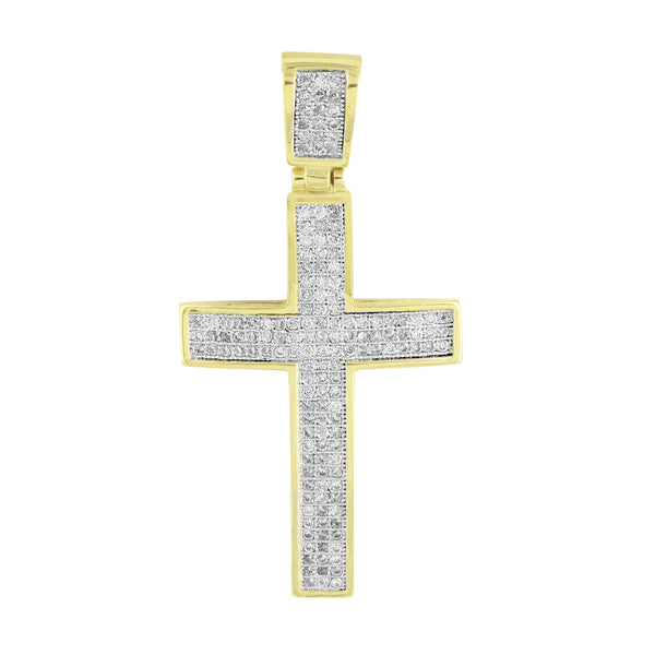 14K Gold Finish Cross Pendant Micro Pave Stainless Steel Chain