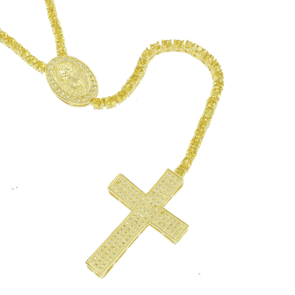 Rosary Yellow Gold Finish Canary Lab Diamond Necklace
