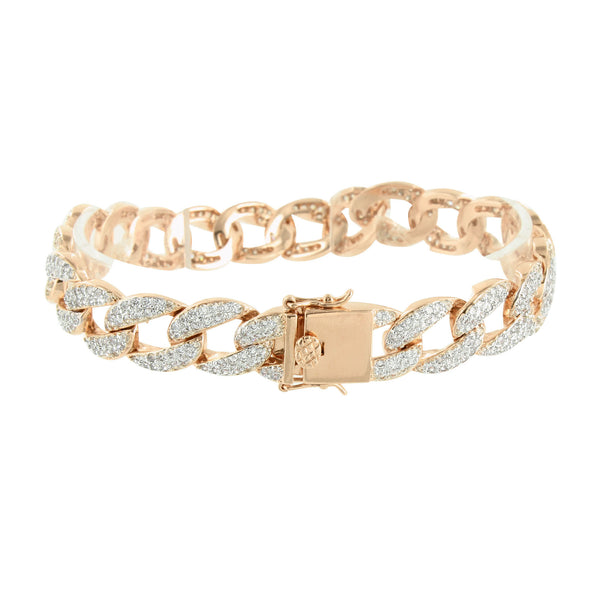 Miami Cuban Bracelet Mens Simulated Diamonds 14K Rose Gold