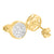 Round 14K Gold Finish Earrings 925 Silver Lab Diamonds