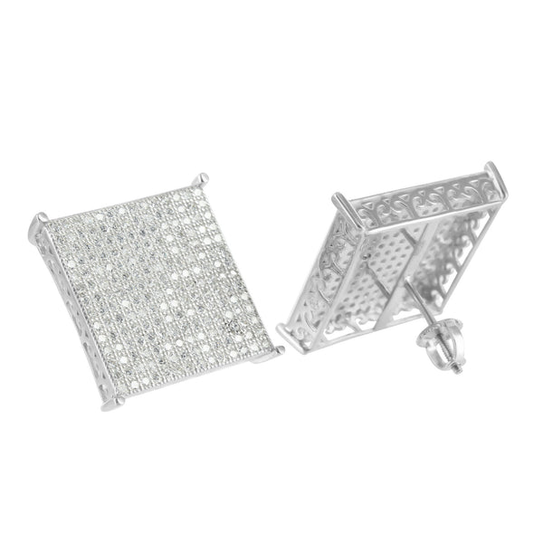 Mens Square Design White Finish Earrings